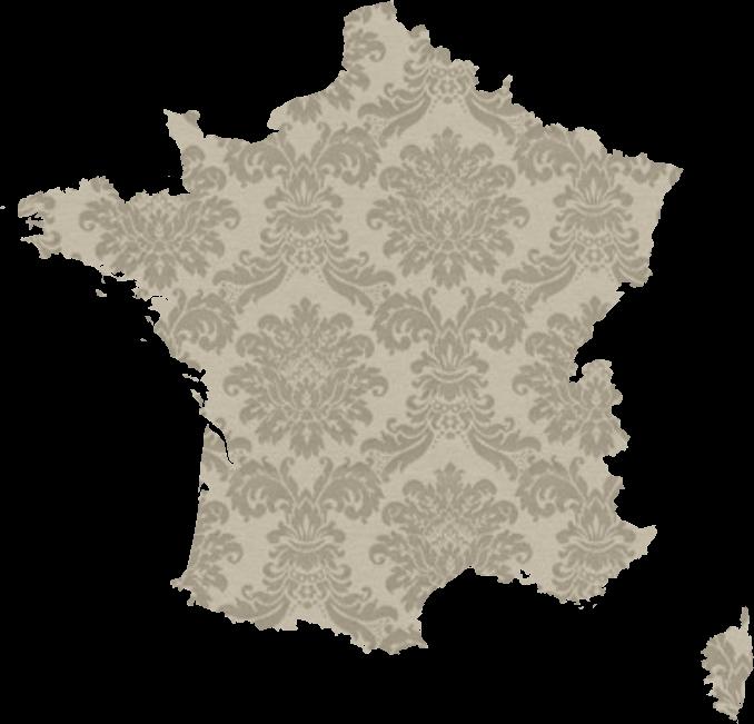 Carte de France sur fond de tapisserie baroque