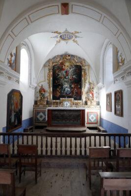 Chapelle baroque  des Chattrix.  Retable.  Saint-Nicolas de Veroce. France.